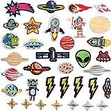 28 piezas, Parche termoadhesivo,pegatinas de tela bordadas,ropa de bricolaje,adecuada para abrigos,camisetas,jeans, nave espacial del planeta