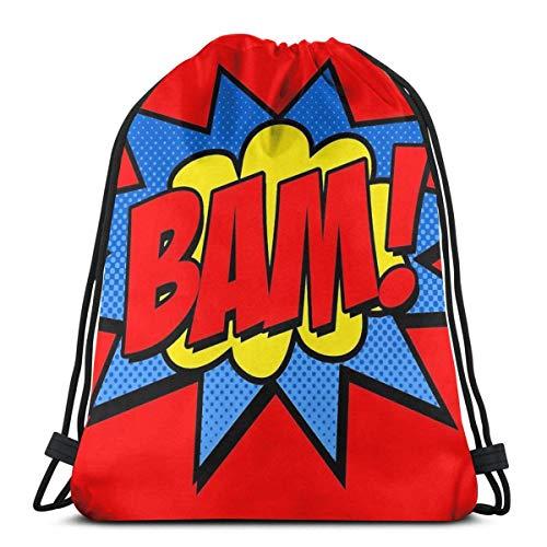 FVBV ¡Bam! Mochila deportiva con cordón, mochila deportiva, bolsa de viaje, bolsa de regalo, mochila deportiva, mochila escolar, bolsa de viaje