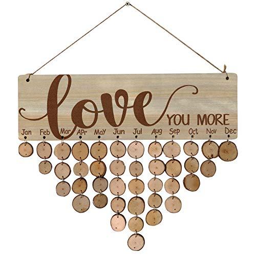 NBRR Calendario de Adviento con números de madera, calendario de cuenta regresiva de madera, para colgar, adornos para manualidades, calendario de pared