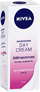 NIVEA Daily Essentials Rich Day Cream Face Moisturiser with SPF15 Sun Protection for Dry & Sensitive Skin, 50 ml