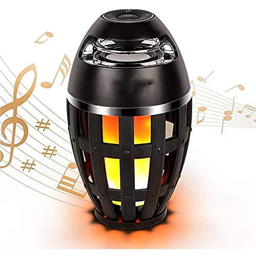 BALLYE Lámpara de Llama Altavoz Música Atmósfera de Llama Lámpara de Mesa Portátil Bluetooth Estéreo Bajo Altavoz inalámbrico Parpadeo LED Luces de Noche cálidas para Interior/Exterior Bluetooth