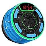Bluetooth Speakers, BassPal IPX7 Waterproof Portable Wireless Shower Speaker with LED Display, FM...