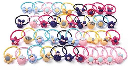 40 Stück Haargummis Mädchen Kinder Haargummi Baby Bunte Haargummis Elastiche Zopfgummis Süße aus Verschiedene Mustern und Farben Perdeschwanz-Halter Haarbänder (Bunte Ohne Blechdose)