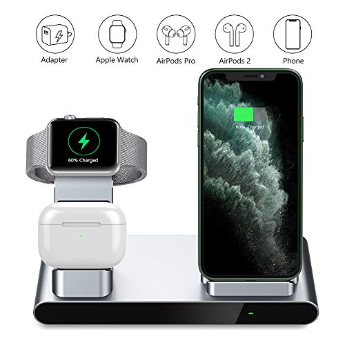 yootech 3 in 1 Fast kabelloses Ladegerät, Aluminium Wireless Charger für AirPods, Apple Watch 5/4/3/2/1, 7,5 W für iPhone SE 2020/11/11 Pro/11 Pro Max/XS MAX/XR/XS/X/8/8 Plus(Ohne iWatch-Ladekabel)