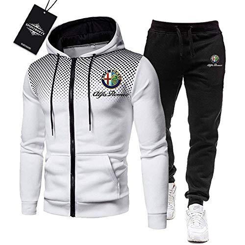 BOLGRTYXC Uomini Tracksuit Impostato Jogging Completo da Uomo Alfa-RoMeo Cappuccio Zip Giacca +. Pantaloni Sport R Gli Sport/bianca/L