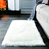 Super Soft White Fluffy Rug Faux Fur Area Rug, Fur Rugs for Bedroom, Fuzzy Carpet for Living Room, 2x4 Feet, Ciicool