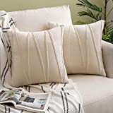Woaboy Pack of 2 Striped Velvet Throw Pillow Covers Modern Decorative Solid Cushion Covers Pillowcases Square Soft Cozy for Bed Sofa Couch Car Living Room 18x18inch 45x45cm Cream
