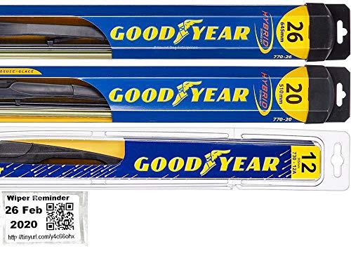 Windshield Wiper Blade Set/Kit/Bundle for 2008-2019 Toyota Highlander - Driver, Passenger Blade & Rear Blade & Reminder Sticker (Hybrid with Goodyear Rear)