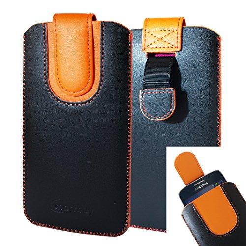 emartbuy Schwarz/Orange Premium PU Leder Slide in Pouch Hülle Cover Hülsenhalter Hulle (Größe LM2) mit Pull Tab Mechanismus Kompatibel mit Smartphones Aufgeführt Unten
