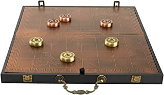 Chinese Game Board Xiangqi Chess Set Brass Made, with Folding Board and Leather Box, Classic Educational Strategy Board Games for 2 Players