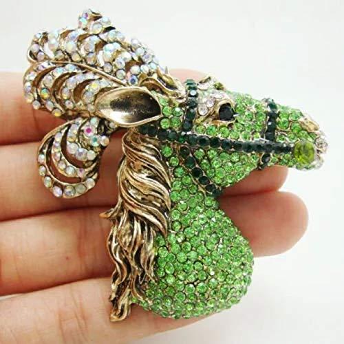 BGBG Broche Nuevo Elegante 2,76'Cabeza de Caballo Broche de Cristal Verde Pin Joyas de corcel