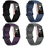 Compatible with Fitbit Charge 3 Bands/Fitbit Charge 4 Bands for Women Men, Breathable with Air Holes Replacement Wristbands for Fitbit Charge 3 SE, Black Navy Purple Gray, Large