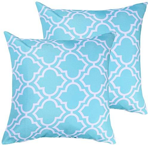 Poise3EHome Juego de 2 fundas de almohada impermeables decorativas para sofá, patio, jardín, decoración de primavera, verano, 50 x 50 cm, color azul