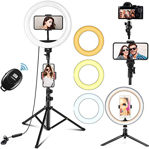 """10\"""" Ring Light with Tripod Stand Phone Holder, Bluetooth Receiver with Dimmable 3 Light Modes & 10 Brightness Level for YouTube/Instagram/Video/Photography/Live Streaming (160CM)"""