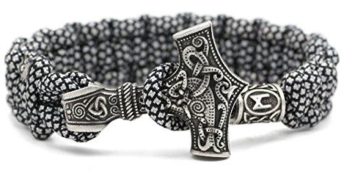 Mannaz Rune Charm Perle - Viking Wikinger Thor`s Hammer Thorhammer Armband - 100% Handarbeit Outdoor Buntes Grau Einzigartiges Paracord Antike Silber Armreif Raven Nordisch Keltisch Nr. 10