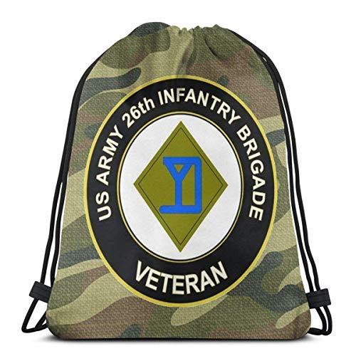 XCNGG US Army Veteran 26th Infantry Brigade Drawstring Backpack Rucksack Shoulder Bags Gym Bag