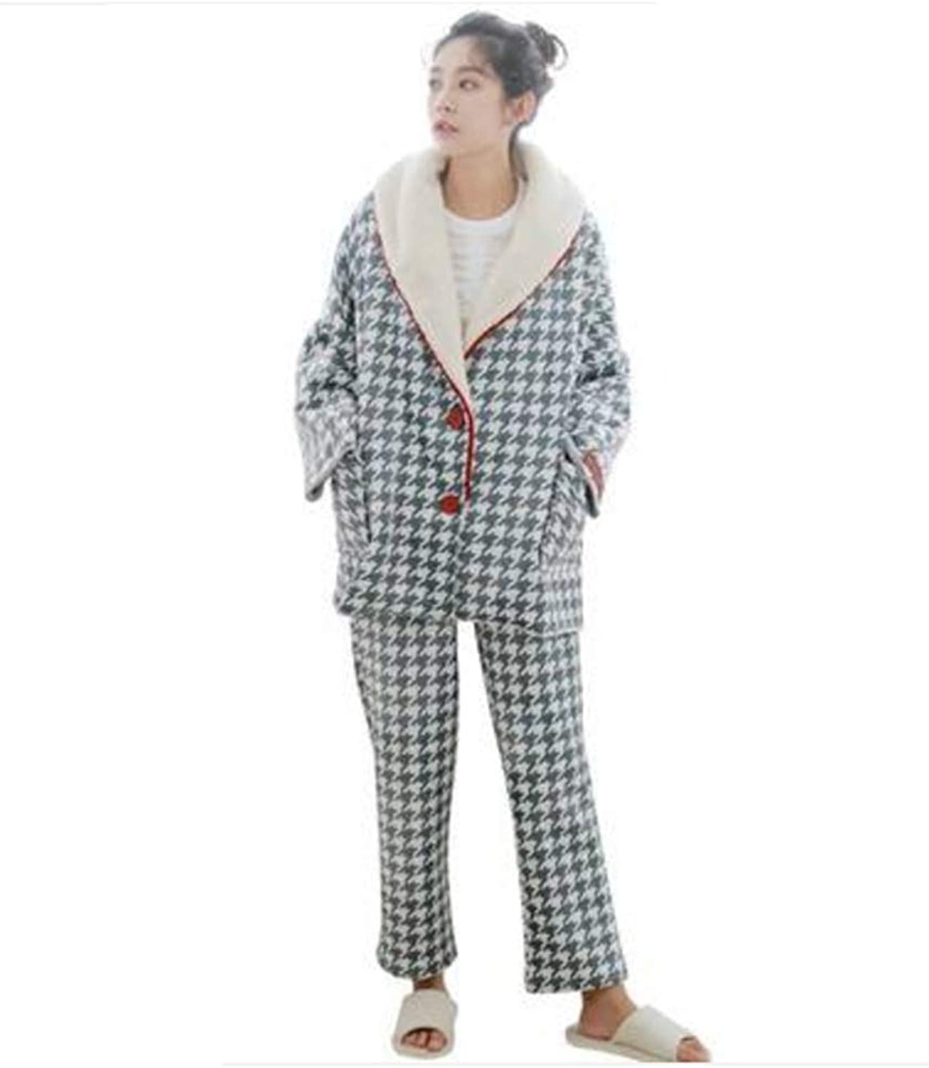 NAN Liang Women's Autumn and Winter Pajamas, Luxury Thick Warm Nightgown, Korean Version of The Loose TwoPiece Home Service Suit Women Soft (Size   M)
