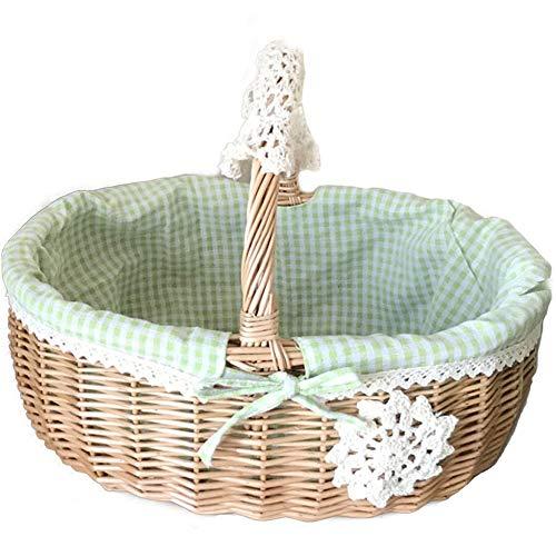 KIKTS rieten manden voor hamers met handvat en linnen katoenen voering rieten wasmand voor picknick, camping, fruit, bloemplanten