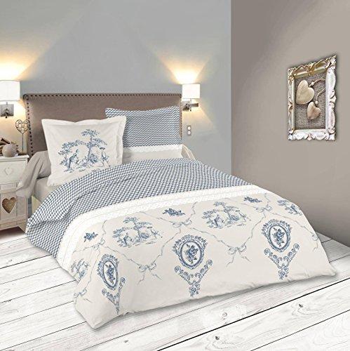 Lovely Casa Mummy Housse de couette 240 x 220 cm avec 2 Taies d'oreiller 63 x 63 cm, Coton, Gris
