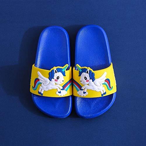 HLRY Nouveau Été Licorne Chaussons pour Enfants pour garçons Sandales Baby Girl Pantoufles PVC Soft Beach Chaussures Kids Rainbow Casual Flip Tongs (Color : Blue, Shoe Size : 26 27(insole17.5 cm))