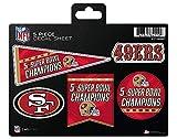 49ers Decal Sticker 5X Time Champions 5 Piece Multi Sheet Flat Vinyl Emblem Super Bowl Football
