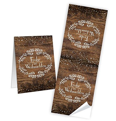 25 Weihnachtsaufkleber Geschenk-Aufkleber FROHE WEIHNACHTEN braun weiß Holz-Optik rustikal 5 x 14,8 cm - Verpackung Geschenke Papiertüten zukleben Sticker Banderolen alt vintage