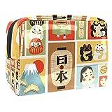 TIZORAX - Bolsa organizadora de cosméticos de PVC con símbolos de la cultura japonesa
