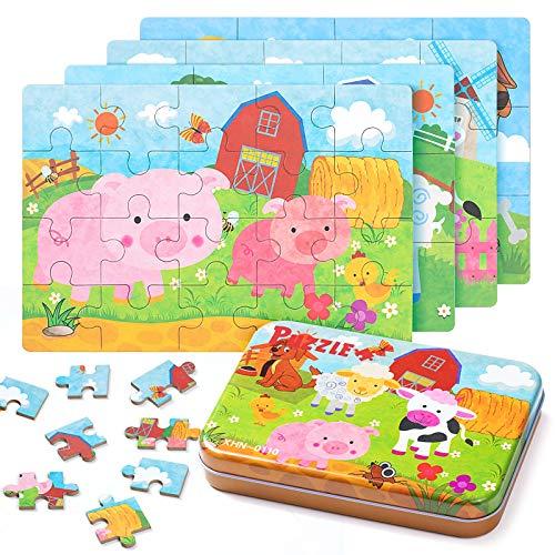 ZWOOS Rompecabezas de Madera,4 en 1Juguete Montessori Puzzles Infantiles ,Varying Degree of Difficulty Educational Learning Tool para Pequeños Niños y Niñas 2-5 Años de Edad
