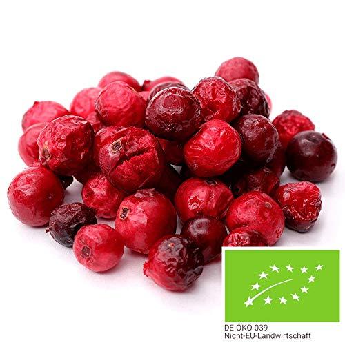 250g BIO Cranberries gefriergetrocknet ohne Zucker-Zusatz - Cranberry ohne jegliche Zusätze aus kontrolliert bilogischem Anbau - in biologisch abbaubarer Verpackung