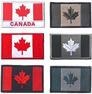 Canada Flag Tactical Patch, TOWEE 6 Pack Canadan Flag Patches Tactical Tags Patch Military Patch Embroidered Border Canada Military Uniform Emblem Morale Patches
