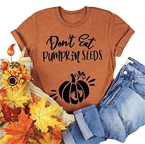 Don't Eat Pumpkin Seeds T-Shirt Women Funny Halloween Maternity Shirt Letter Print...