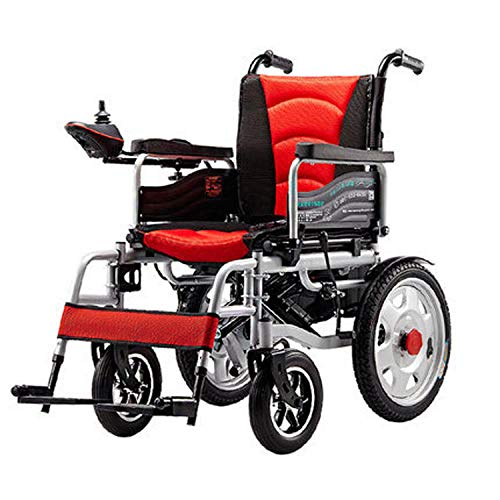 Dtcat Respaldo reclinable, Anciano discapacitado sin Silla de Ruedas eléctrica Plegable @ Rojo, Doble Motor portátil Potente