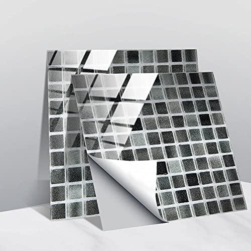 10 Piezas Mosaico De Película De Cristal Adhesivo Para Azulejos, Pelar Y Pegar La Pared Autoadhesiva Impermeable Etiqueta De Piso Diy Etiqueta De La Pared-20 * 20Cm_10