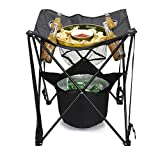 Mind Reader TAILGABLE-BLK Collapsible Folding Table with Insulated Cooler, Food Basket, and Travel Bag for Barbeque, Picnic, Camping, and Tailgate, Black