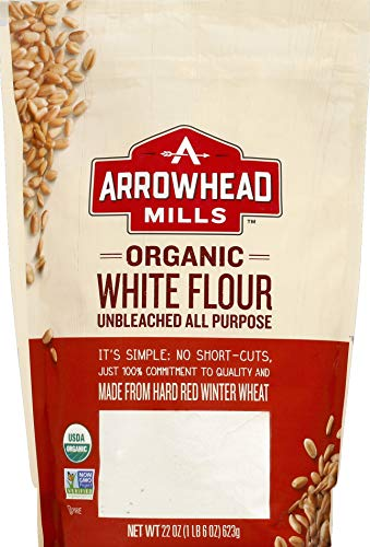 Arrowhead Mills Organic Unbleached All Purpose White Flour, 22 Ounce Bag (Pack of 6), 1.37 Pound (Pack of 6)