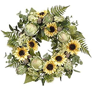 24″ Sunflower, Protea & Queen Anne's Lace Silk Flower Hanging Wreath -Yellow/Green