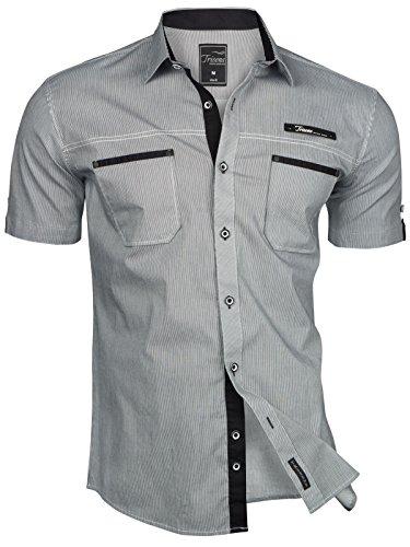 Trisens Herren Hemd Kurzarm Gestreft Slim Fit Sommer Baumwolle Polo Style Cotton, Farbe:Dunkelgrau, Größe:M