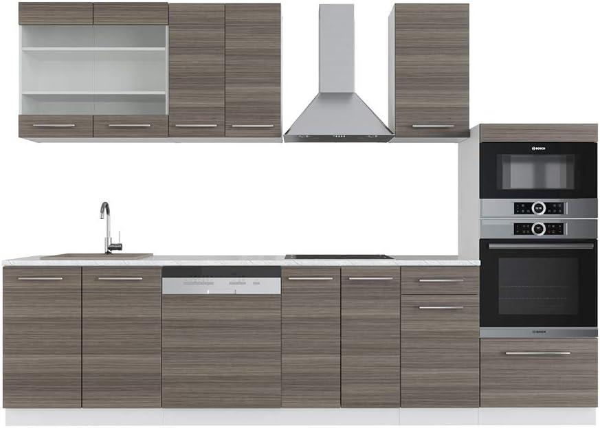 Vicco Küche Fame-Line 240 cm Küchenzeile Küchenblock Einbau (Edelgrau)