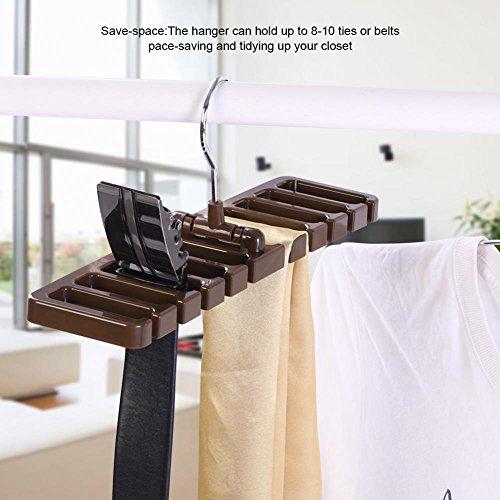 Yosooo Belt Hanger Rack Holder 10 Slot Tie Belt Scarf Rack Holder Organizer for Closet Wardrobe Storage Space Saver 360 Degree Rotating(Brown)