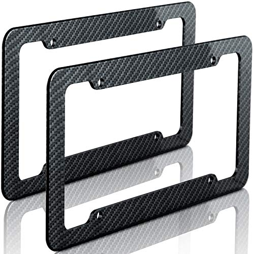 Motorup America Carbon Fiber License Plate Frame (Pack of 2) Best for Front & Rear - Auto Accessories Fits Select Vehicles Car Truck Van SUV Bumper Cover Tag Holder