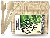 BAMBOODLERS Set di Posate in Legno Usa e Getta | 100% Naturale, Ecologico, Biodegradabile ...