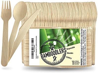 BAMBOODLERS Cubiertos de Madera Desechables | 100% Natural, Ecológicos, y Biodegradables- ¡Porque la Tierra es un Lugar Asombroso! Paquete de 200: 100 tenedores, 50 cucharas, 50 cuchillos (16.5 cm)