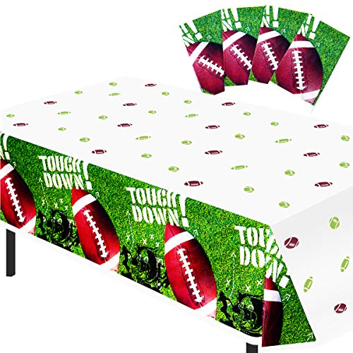 FUNNISM 4 Pack Game Day Football Tablecloths, Touchdown Themed Table Cover for Superbowl,Tailgating,NFL Games,Playoffs, Sports Birthdays Party Supplies, Football Superbowl Party Decorations(52' x 87')