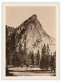 Fotografía histórica de Carleton E. Watkins c.1865 en tela de impresión orgánica RAW de 3 hermanos, Parque Nacional de Yosemite, California, blanco y negro