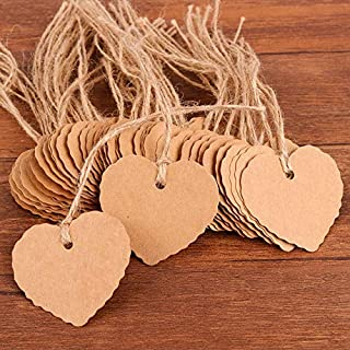 Coogam 50 Pack Brown Kraft Paper Gift Tags with Twine String Attached Tie on - Heart Designs for DIY Holiday Christmas Present Wrap Stamp Label Package Name Thank You Blank Card Merchandise Tags