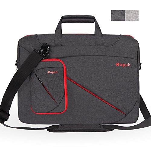 Ropch 17 17,3 Zoll Notebooktasche Umhängetasche Messenger Bag Laptop Tasche Schultertasche Schutzhülle Hülle Sleeve Case - Schwarz