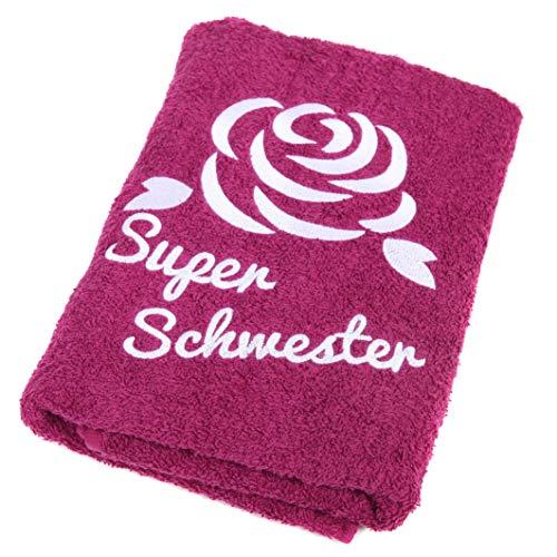 Abc Casa Super Schwester Handtuch zum Geburtstag, Namestag, Jahrestag, Valentinstag - Schönes und Nützliches Geburtstagsgeschenk für die Beste Schwester