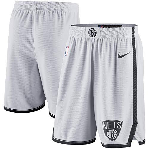 Nike Brooklyn Nets NBA Boys Youth 8-20 White Association Edition Swingman Shorts (Youth Medium 10-12)