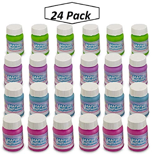Kidsco Happy Birthday Bubbles Assorted Color Mini 1 Oz Bubble Bottles 24 Pack - for Children, Parties, Party Favors, Games, Fun, Gifts, Play, and Celebrations