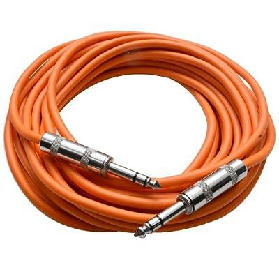 "Seismic Audio - SATRX-25Orange - 25 Foot Orange 1/4"" TRS Patch Cable - Balanced Cord - Effects"